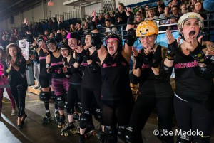 The Nutcrackers celebrate their first win of the season. Photo by Joe Medolo.
